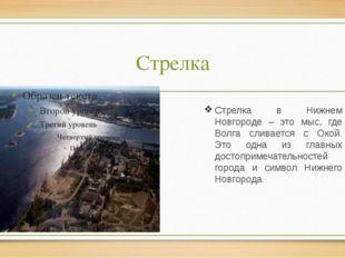 Стрелка Стрелка в Нижнем Новгороде – это мыс, где Волга сливается с Окой. Это