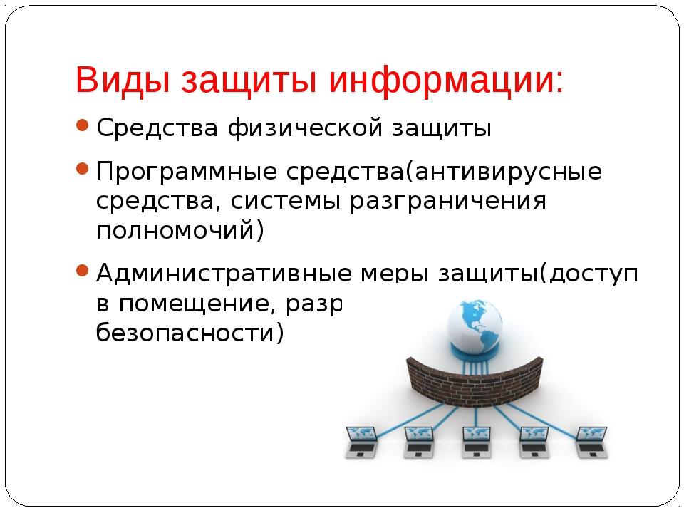 Виды защиты информации: Средства физической защиты Программные средства(антив...
