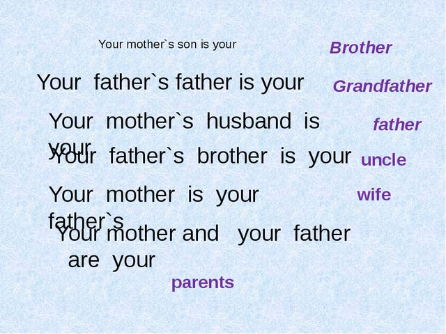Your mother`s son is your Your father`s father is your Brother Grandfather Yo...