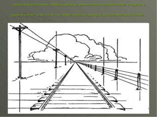 Группа параллельных линий на рисунке, выполненном в перспективе, сходится в о