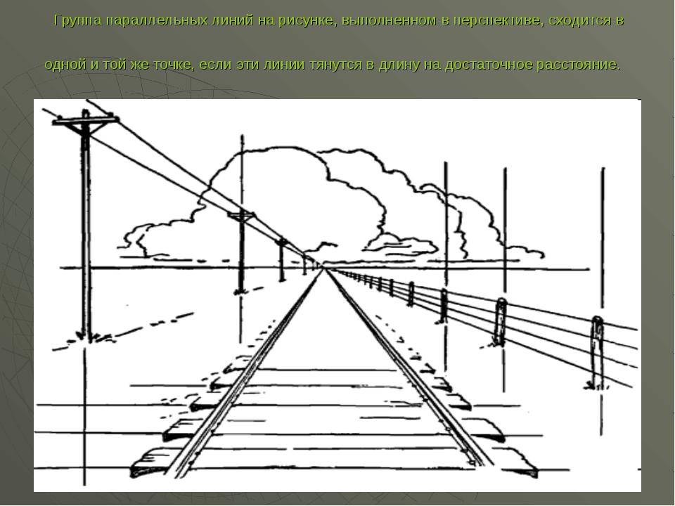 Группа параллельных линий на рисунке, выполненном в перспективе, сходится в о...