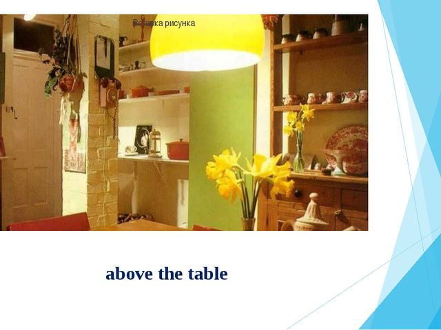 above the table
