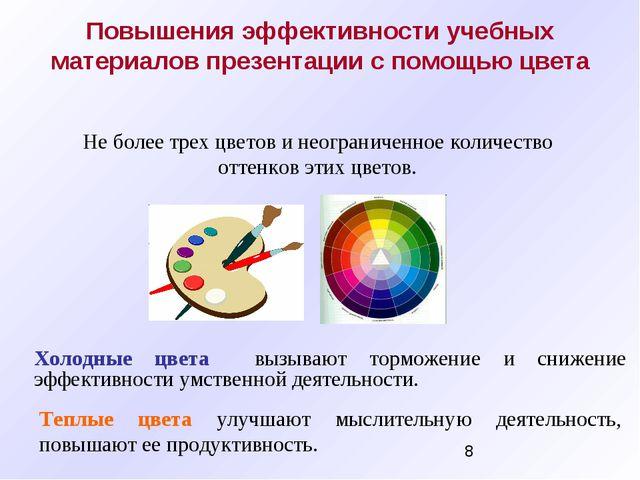 Повышения эффективности учебных материалов презентации с помощью цвета Холодн...