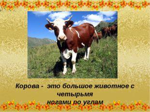 Корова - это большое животное с четырьмя ногами по углам