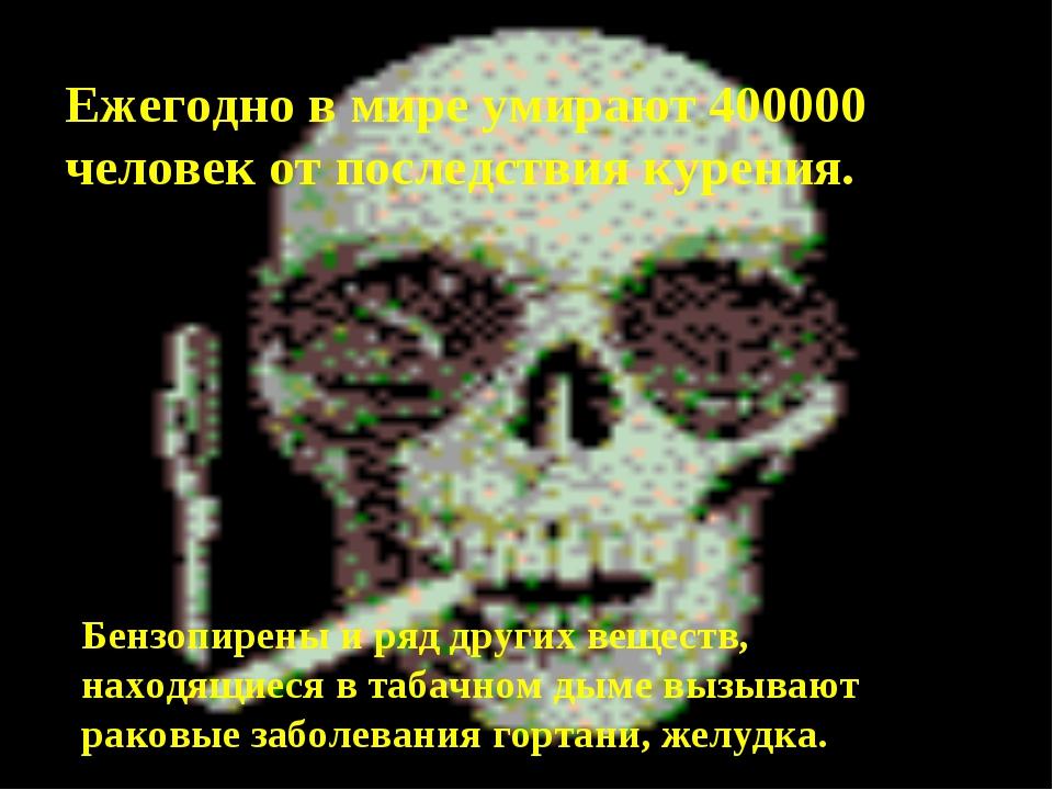 Ежегодно в мире умирают 400000 человек от последствия курения. Бензопирены и...