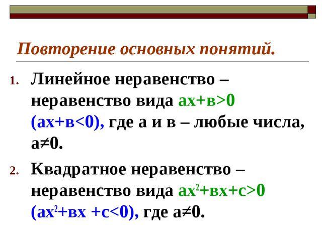 Повторение основных понятий. Линейное неравенство – неравенство вида ах+в>0 (...