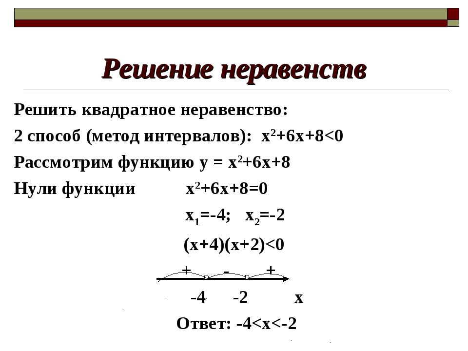 Решение неравенств Решить квадратное неравенство: 2 способ (метод интервалов)...