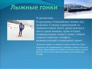 О дисциплине В программу Олимпийских зимних игр включено 12 видов соревнован