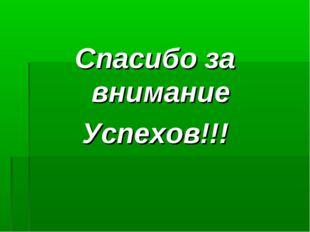 Спасибо за внимание Успехов!!!