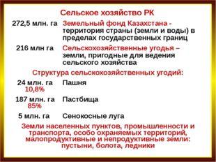 Сельское хозяйство РК 272,5млн. га Земельный фонд Казахстана - территория стр