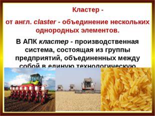 Кластер - от англ. claster - объединение нескольких однородных элементов. В А