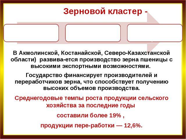Зерновой кластер - В Акмолинской, Костанайской, Северо-Казахстанской области)...