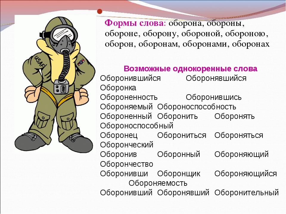 Формы слова: оборона, обороны, обороне, оборону, обороной, обороною, оборон,...