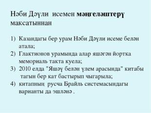 Нәби Дәүли исемен мәңгеләштерү максатыннан Казандагы бер урам Нәби Дәүли исем