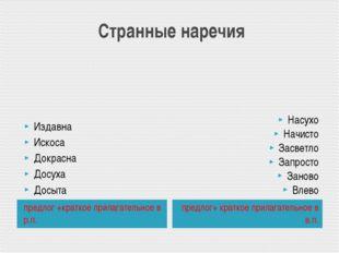 Странные наречия предлог +краткое прилагательное в р.п. предлог+ краткое при