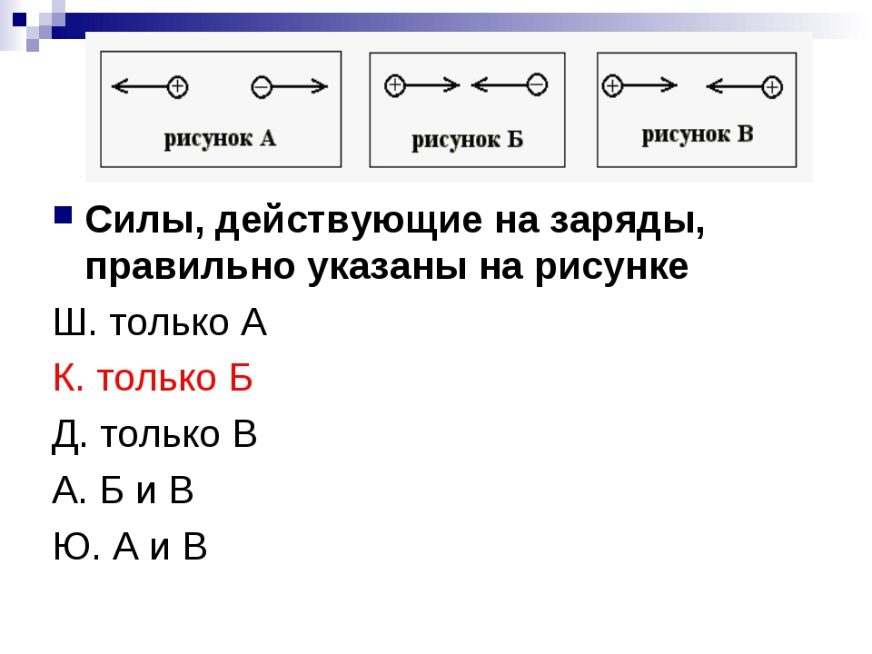 Силы, действующие на заряды, правильно указаны на рисунке Ш. только А К. толь...