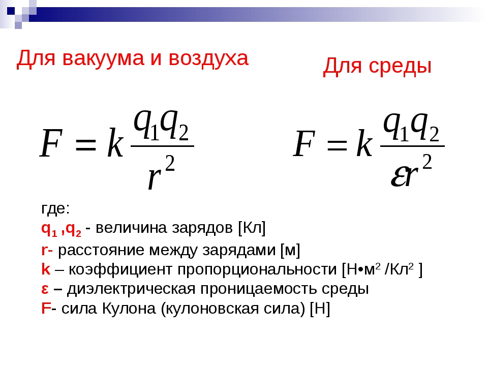Для вакуума и воздуха Для среды где: q1 ,q2 - величина зарядов [Кл] r- расст...