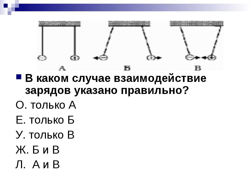 В каком случае взаимодействие зарядов указано правильно? О. только А Е. тольк...