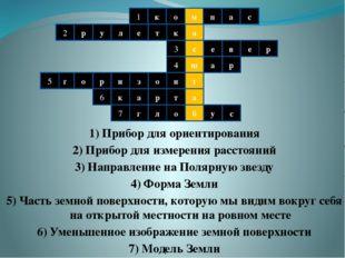 1) Прибор для ориентирования 2) Прибор для измерения расстояний 3) Направлени