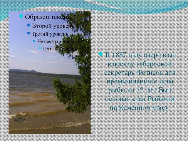 В 1887 году озеро взял в аренду губернский секретарь Фетисов для промышленног...