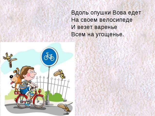 Вдоль опушки Вова едет На своем велосипеде И везет варенье Всем на угощенье.