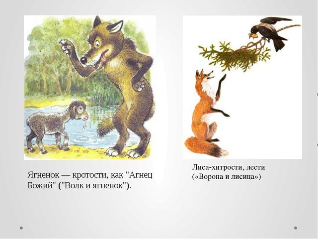 """Ягненок — кротости, как """"Агнец Божий"""" (""""Волк и ягненок""""). Лиса-хитрости, лест..."""