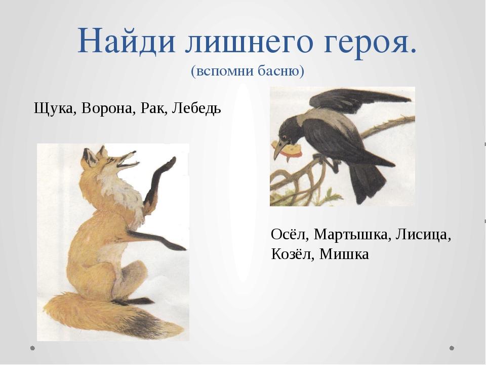 Найди лишнего героя. (вспомни басню) Щука, Ворона, Рак, Лебедь Осёл, Мартышка...