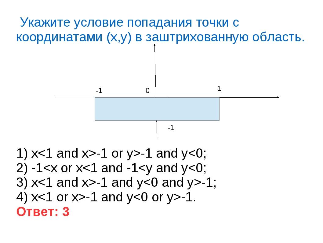 Укажите условие попадания точки с координатами (x,y) в заштрихованную область...