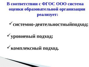 В соответствии с ФГОС ООО система оценки образовательной организации реализуе
