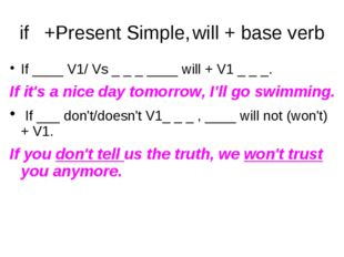 if 	+Present Simple,	will + base verb If ____ V1/ Vs _ _ _ ____ will + V1 _ _