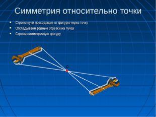 Симметрия относительно точки Строим лучи проходящие от фигуры через точку Отк