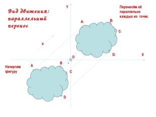 A B C D A1 B1 C1 D1 Y X O 0 Начертим фигуру Перенесём её параллельно каждых и