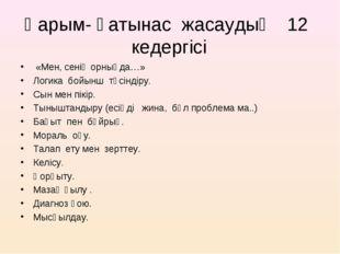 Қарым- қатынас жасаудың 12 кедергісі «Мен, сенің орныңда…» Логика бойынш түсі