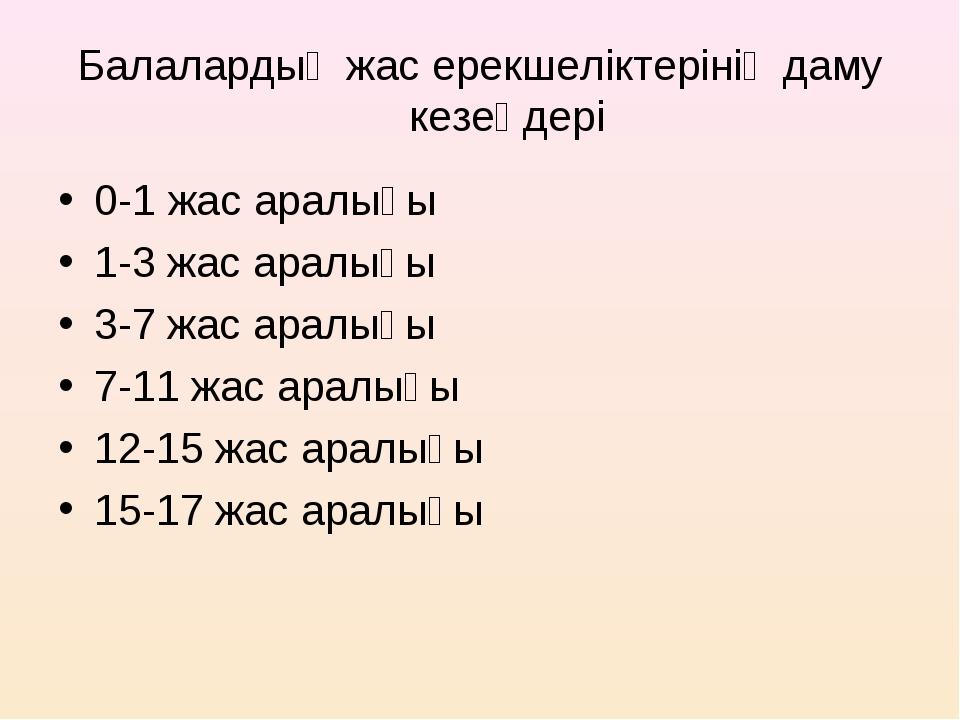 Балалардың жас ерекшеліктерінің даму кезеңдері 0-1 жас аралығы 1-3 жас аралығ...