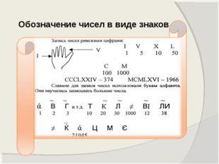 Обозначение чисел в виде знаков