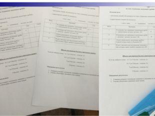 Листы оценивания: урок рефлексии (обобщающий урок)