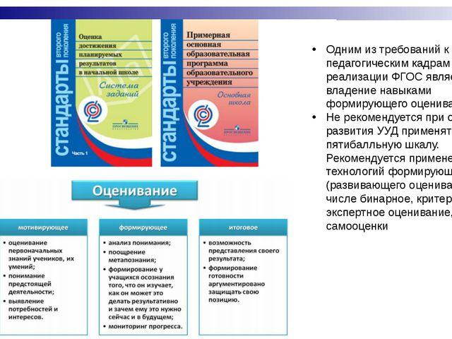 Одним из требований к педагогическим кадрам в условиях реализации ФГОС являет...