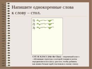 Напишите однокоренные слова к слову – стол. 1) 2) 3) СТЁ ЗЕ КЛАСС (Stir the C