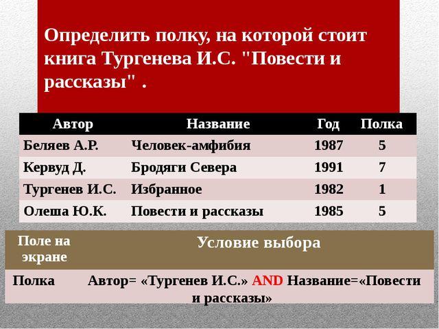 """Определить полку, на которой стоит книга Тургенева И.С. """"Повести и рассказы""""..."""