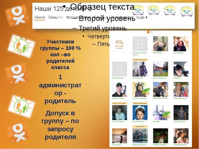 Участники группы – 100 % кол –во родителей класса 1 администратор - родитель...