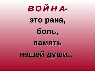 В О Й Н А- это рана, боль, память нашей души…