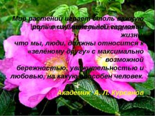 Мир растений играет столь важную роль в изумительной гармонии жизни, что мы,