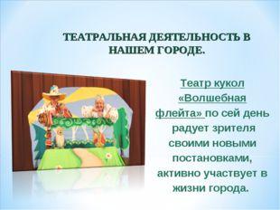 ТЕАТРАЛЬНАЯ ДЕЯТЕЛЬНОСТЬ В НАШЕМ ГОРОДЕ. Театр кукол «Волшебная флейта» по се