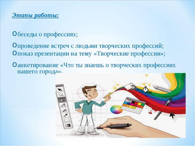 Этапы работы: беседы о профессиях; проведение встреч с людьми творческих проф...