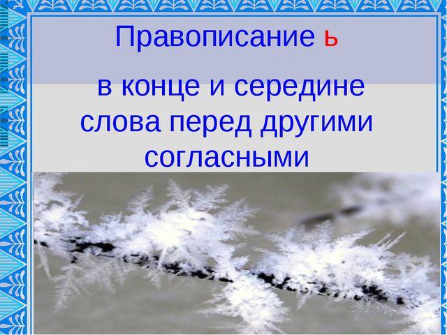 ь Правописание ь в конце и середине слова перед другими согласными
