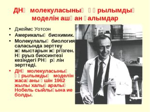 ДНҚ молекуласының құрылымдық моделін ашқан ғалымдар Джеймс Уотсон Америкалық