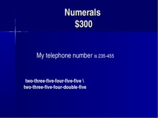 Numerals $300 My telephone number is 235-455 two-three-five-four-five-five \