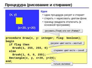 Процедура (рисование и стирание) procedure Draw(x, y: integer; flag: boolean)