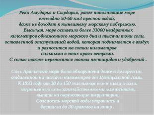 Реки Амударья и Сырдарья, ранее пополнявшие море ежегодно 50-60 км3 пресной в