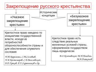Закрепощение русского крестьянства Исторические концепции «Указное закрепощен